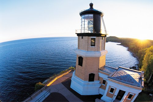 Photo of a fish-eyed view of Split Rock Lighthouse