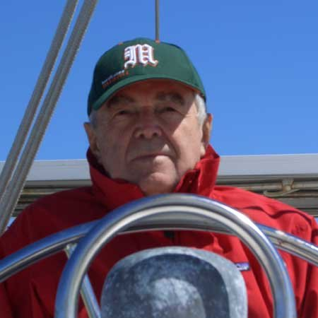 Photo of Gary at the helm
