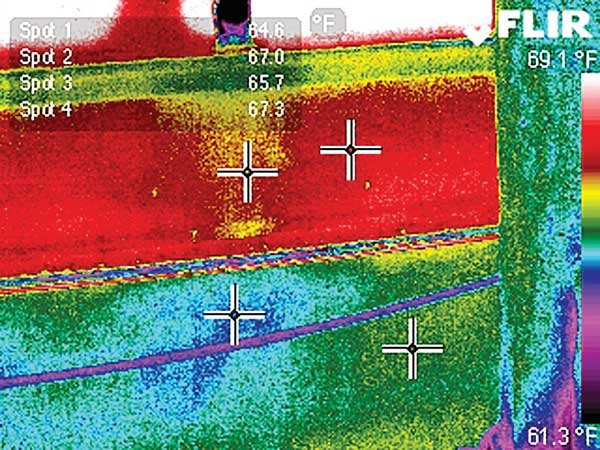 Photo of FLIR image of chainplates