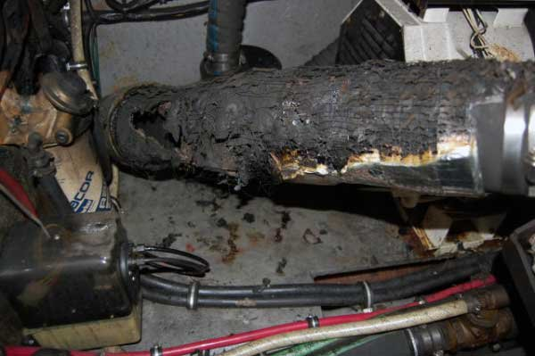 Photo of an overheated exhaust system