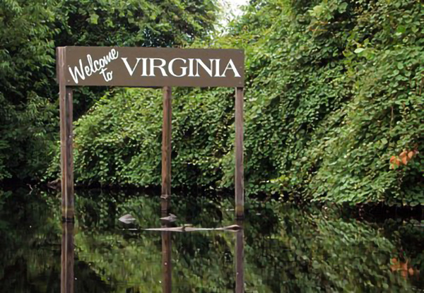 Sign in water says Welcome To Virginia