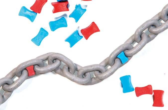 Anchor Chain with Colorful Plastic Markers