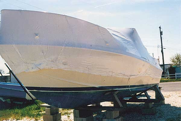 Shrink Wrapped Boat on Blocks
