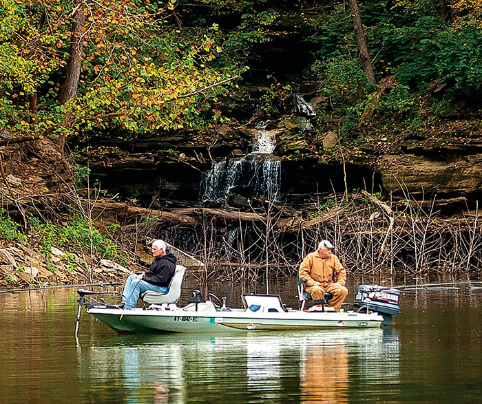 Two men fishing on Lake Cumberland