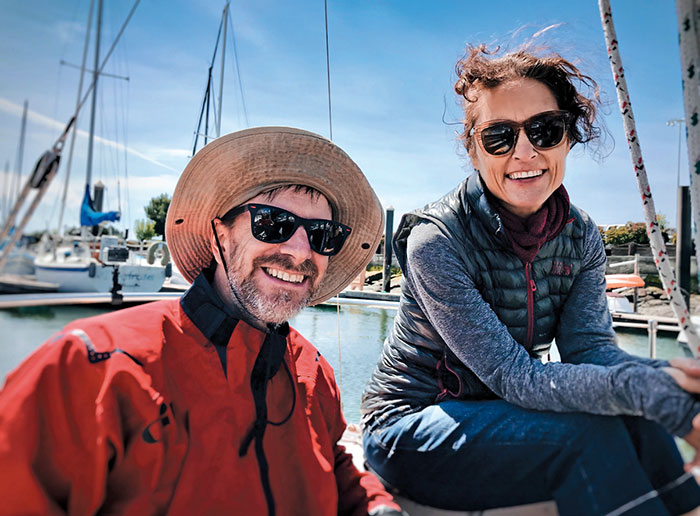 San Francisco Bay Musicians Kwame Copeland and Debrah Crooks on their Boat