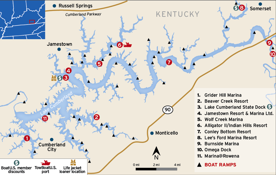 Lake Cumberland map showing BoatUS service ports and marinas