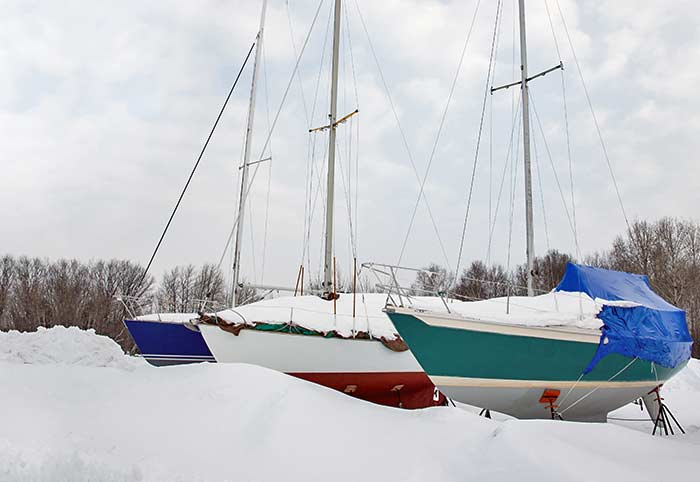 Boats stored for winter