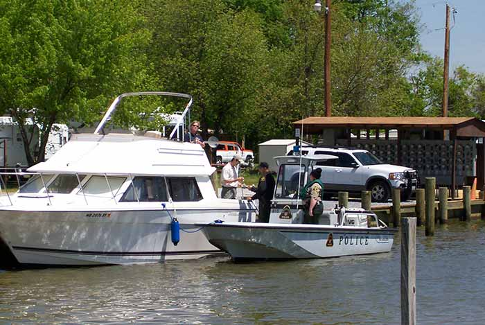 Police ticketing boater