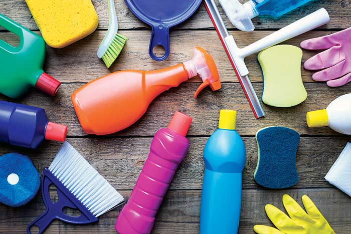 Various cleaning products and tools