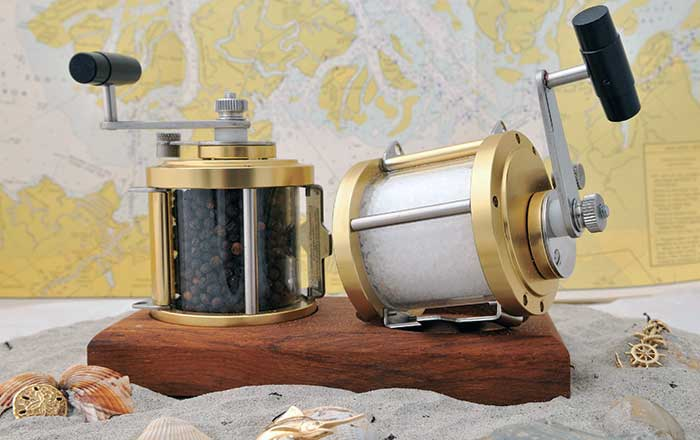 Nautically-themed salt and pepper mill