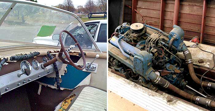 1964 Chris Craft engine before and after makeover