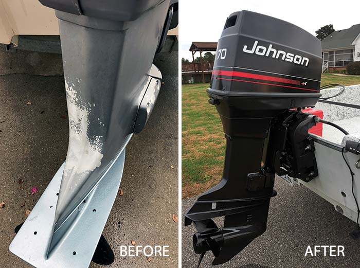 Before and after Johnson-70 outboard spray job