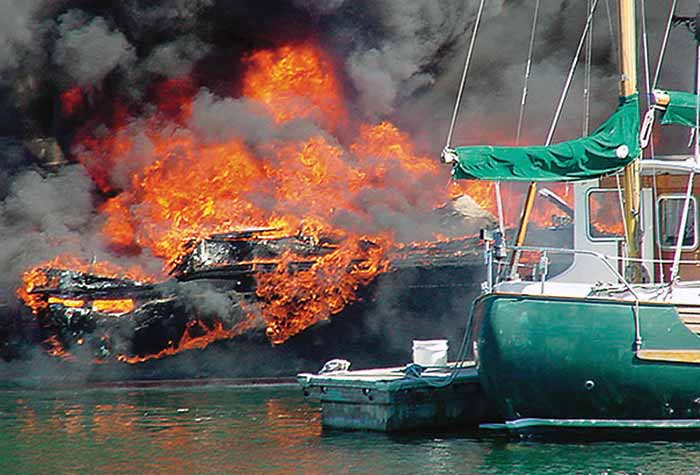 Spilled gas boat fire