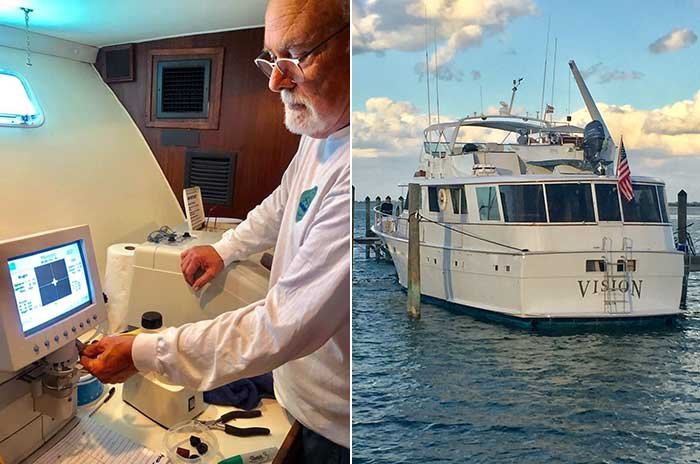 Tom Vanderpool crafts glasses in the lab he's set up aboard his boat