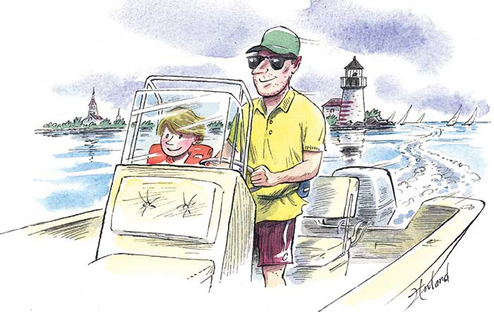 Father and son boating illustration
