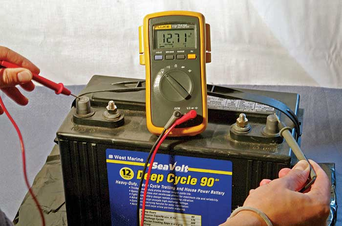 Testing battery voltage