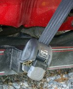 Close up of boat trailer bow strap