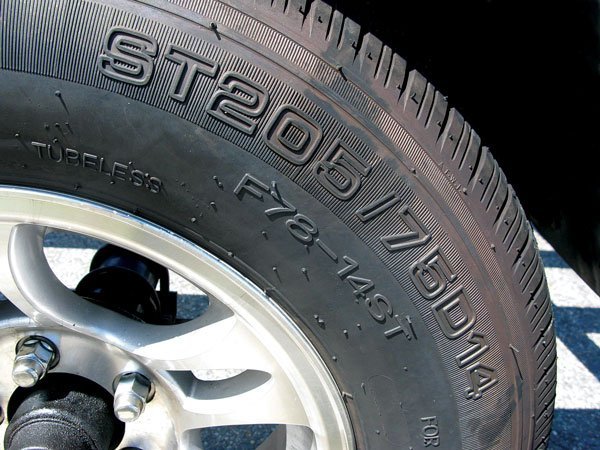 Photo of sidewall lettering on a trailer tire
