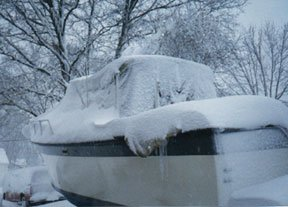 Photo of a boat covered in snow