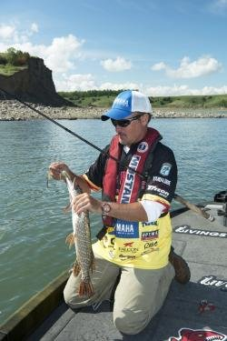 Pro Angler Jeff Kriet holding a northern pike