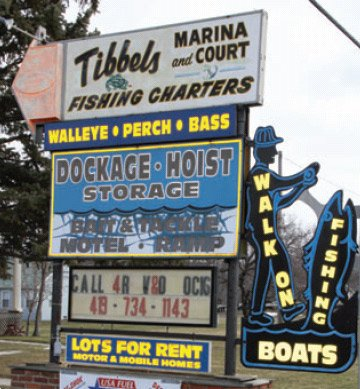 Photo of the sign for Tibbels Marina and Fishing Charters
