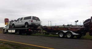 KevinLedoux's trcuk and boat being helped by BoatUS Towing Services