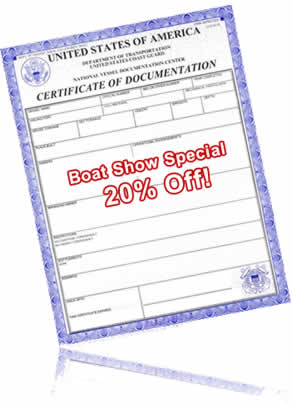 BoatUS Documentation Service - 20% Off - Fall Boat Show Special