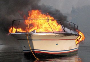 Photo of a boat fire