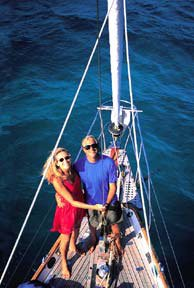 Photo of Bernadette and Douglas Bernon aboard Ithaka