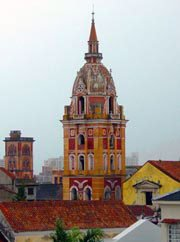 Photo of a church spire in Cartagena