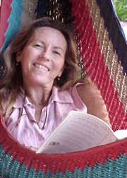 Photo of Bernadette in the hammock