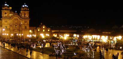 Photo of the lights on the Plaza de Armas in Cuzco
