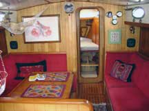 Photo of the main saloon, looking forward from the galley.