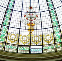 Photo of a stained-glass dome in Lima Peru