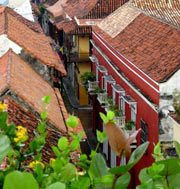 Photo of the terra-cotta rooftops of Cartagena