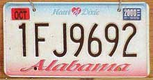 Photo of Alabama license plate