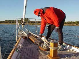 Photo of Douglas arranges the snubber on the anchor chain