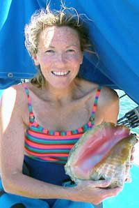 Photo of Benadette with conch shell