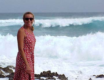 Photo of Bernadette at the famous blow hole of San Andres