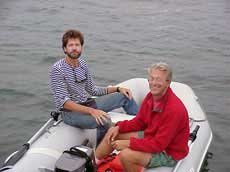 Photo of Charlie Doane and Douglas Bernon in the dinghy