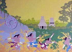 Photo of mural of Chichen Itza decorating the Stardust Inn at Piste