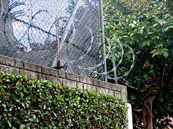 Photo of concertina wire tops the high walls surrounding the homes