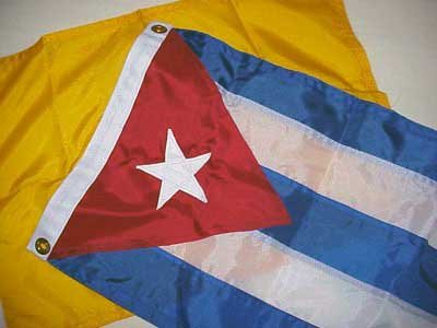 Photo of Cuban and quarantine flags