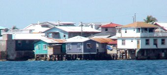 Photo of houses close together on the tiny Cay