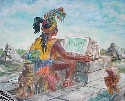 Indian and computer cartoon