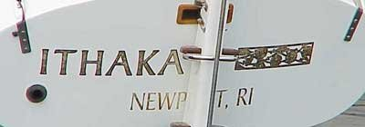 Photo of Ithaka boat name on stern