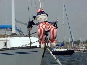 Photo of July 4th decoration in Newport Harbor