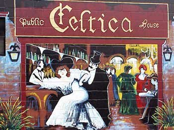 Photo of a mural of friends on the outside wall of Celtica