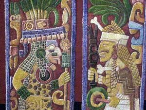 Photo of replica of the painted Mayan carvings