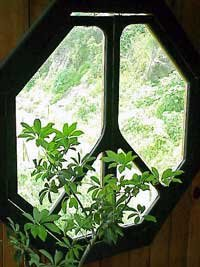 Photo of a peace symbol in the shape of a window